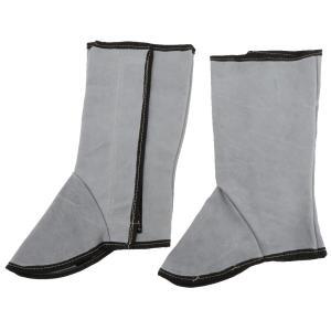 レッグウォーマー 溶接用 断熱 保護カバー レザー 安全プロテクター 靴カバー - ナチュラルカラー