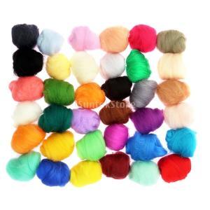 手作り 柔らかい 羊毛 フェルト素材 ロービング 繊維 工芸品 約36ピース|stk-shop