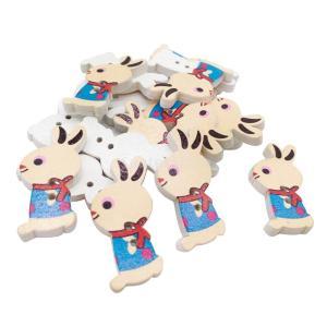 約50ピース ボタン 2穴 木製 漫画 ウサギ 混合|stk-shop
