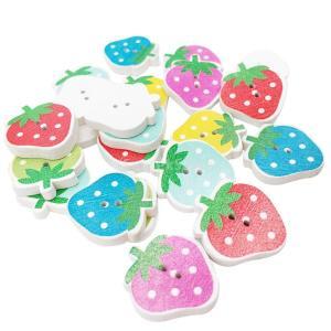 2穴 ボタン 木製 スクラップブッキング 衣料品アクセサリー 約30個 混合 イチゴ|stk-shop