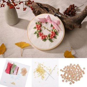 Homyl DIY クリエイティブ ツール 糸 布 クロスステッチ 刺繍 スターターキット 全3色 - ピンク
