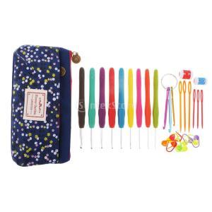 かぎ針編みフックキット 糸 ニードル ミシンツールセット 全3色 - ネービー stk-shop