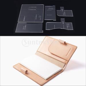 IPOTCH ノートブックカバー テンプレート 型紙 アクリル レザークラフト アクセサリー 道具 5ピース|stk-shop