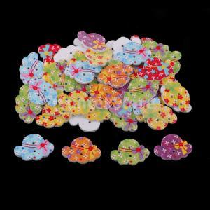 説明:材質:ウッド。 50pcs 2穴木製のボタン、花のパターンとかわいい帽子の形。 様々な縫製、編...