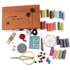 IPOTCH プロ 縫製キット 裁縫道具セット 木製ケース 大人 小学生 小学校 男の子 女の子