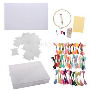 説明:パッケージには、プラスチック製の収納ケース1個、竹刺繍フープ1個、カラフルな糸50個、布1個、...