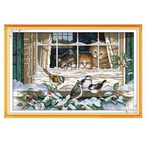 刻印クロスステッチキット印刷済み猫鳥柄刺繍14CT stk-shop