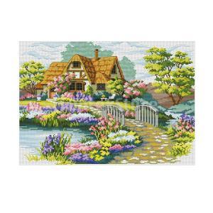 ガーデンコテージ手作りスタンプクロスステッチキット刺繍クラフト53×41センチ