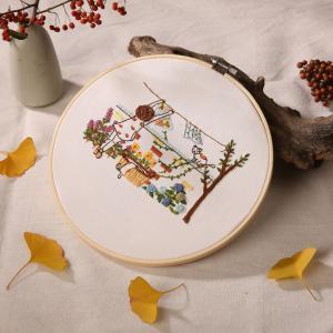 初心者のための刻印刺繍キットカラフルな生活パターンDIYの家の装飾2 stk-shop