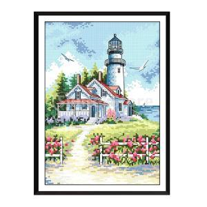 海辺の灯台はクロスステッチキットDIY針仕事プレプリント生地を刻印 stk-shop