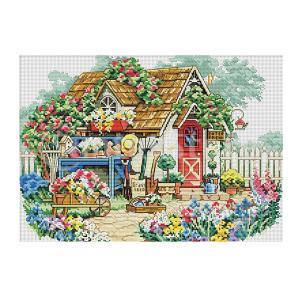 刻印クロスステッチキット ハウス柄 刺繍キット 刺繍布 ポリエステル製 家の装飾 壁の装飾 stk-shop