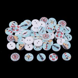 sharprepublic ウッドボタン 木製ボタン 釦セット 2穴ボタン セーリング 縫製ボタン 漫画素材 手芸材料 約50個 stk-shop