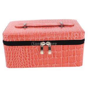 オイル収納ケース 収納ボックス オイル 香水 収納ポーチ トラベルケース 84スロット メイクアップポーチ 大容量 3色選べる - ピンク|stk-shop