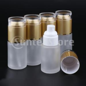 5本ガラススプレーボトル詰め替え式化粧品容器漏れ防止30ミリリットルゴールデン
