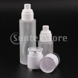 2ピースガラススプレーボトル詰め替え式化粧品容器30ミリリットル/ 80ミリリットルホワイト