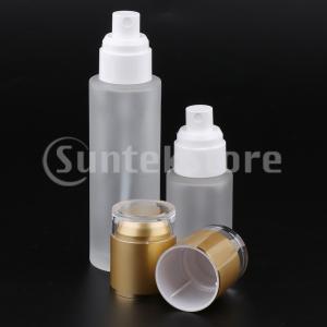 2個ガラススプレーボトル詰め替え式化粧品容器30ミリリットル/ 80ミリリットルゴールデン