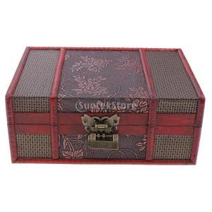 説明:中国のレトロヴィンテージスタイルの木製の宝石箱のネックレス収納ボックスケース婚礼/誕生日プレゼ...