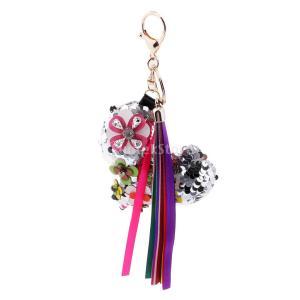 説明:ファッションクリスタルブリンク手芸の色Pailletteペンダントバッグを吊るす車のキーチェー...