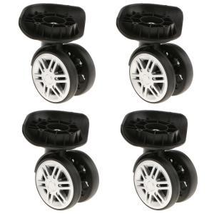 交換タイヤキット スーツケース 車輪補修 キャスター 二重ローラー 取替え DIY 修理 交換 4個 黒 - YJ-003|stk-shop