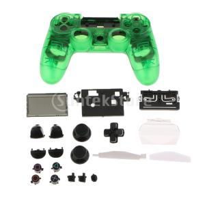 説明: ソニーPS4 Proコントローラー用のボタンキーと親指グリップキャップを備えたフルカバースキ...
