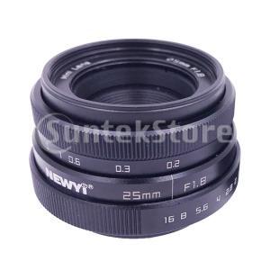 16mm Cマウントカメラ用ミニ25mm F1.8 APS-Cテレビ/ TV / CCTVレンズブラ...