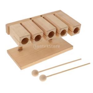 木製 ウッド 5トーンブロック ビータ付き 子供 音楽学習 親子コミュニケーション 楽器玩具 stk-shop