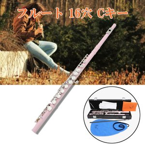 IPOTCH 16ホール Cキーフルート 楽器 クリーニングクロス/ボックス/スティックドライバー/手袋付き ギフト - ピンク|stk-shop