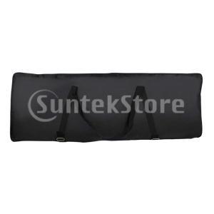 キーボード ケース カバー 耐水性 76鍵用 小物 ポケット付き 調節可能な ストラップ ブラック