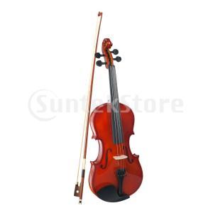 4/4エレクトリックベースウッドウッドバイオリン、ハードケース、ボウ、ロジン(フルサイズ)