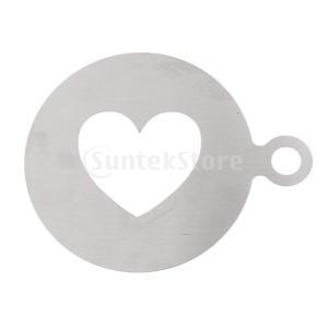 Fenteer コーヒーステンシル テンプレート ステンレス鋼 心形 コーヒー用 装飾金型 手作り|stk-shop