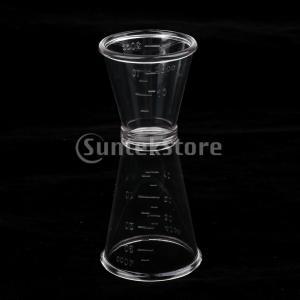Sharplace ダブル 測定カップ プラスチックジッガー クリア カクテル/ワイン バーテンダー バー 家庭 実用的|stk-shop