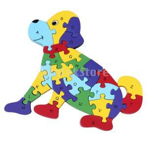 説明: 明るい色の木製のアルファベットの数字のジグソーパズルのおもちゃのセット。製品は、再生中に赤ち...