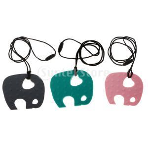 赤ちゃん象のシリコーン看護のおもちゃのteether歯のネックレスのペンダント|stk-shop