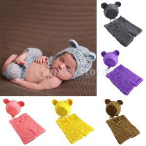 新生児の女の子の少年の写真は、かぎ針編みのニットコスチュームをプロップ|stk-shop