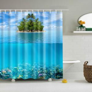 自然の風景のシャワーカーテン防水浴室の装飾|stk-shop