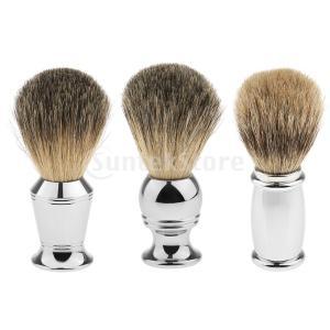 プレミアムソフトシェービングブラシ合金ハンドル男性用サロン理髪用剃刀ツール|stk-shop