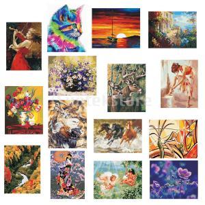 数字の油彩キャンバスの絵で塗装されていないdiyペイント塗料