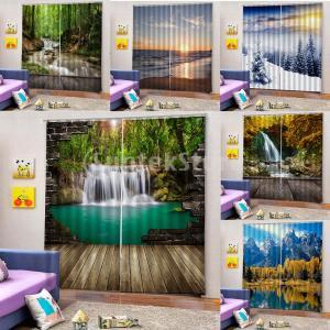 2パネルデジタル3D印刷遮光窓カーテン