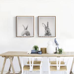 2本のモダンアートの油絵のキャンバスの絵かわいいウサギの壁の装飾 stk-shop