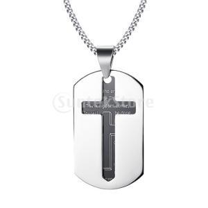説明: メンズ祈りの宝石のためのスタイリッシュな2ピースのカットアウトのクロスと聖書聖書の犬のタグの...