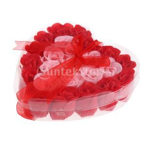 母の日のための24個の石鹸の花の花びらの心の形のギフトボックス