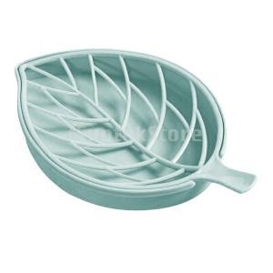 ダブルレイヤー石鹸皿石鹸トレイホルダー葉ドレインラックバスルーム stk-shop