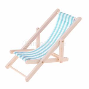 説明:  1:12ドールハウスミニチュア家具木製ストライプラウンジチェアビーチまたはガーデンラウンジ...
