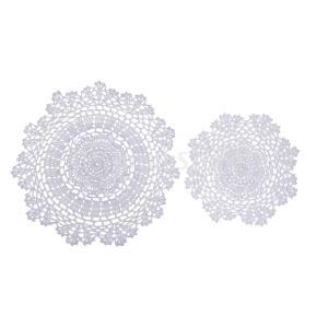 1個の白い手作りのかぎ針編みの綿のひものテーブルplacemats doilies|stk-shop
