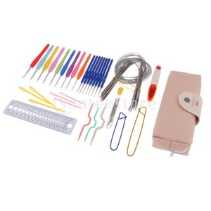 説明: 製織ツールキットには、かぎ針編みフック、刺しゅう針、定規、はさみ、曲がった針、安全ピンなどが...