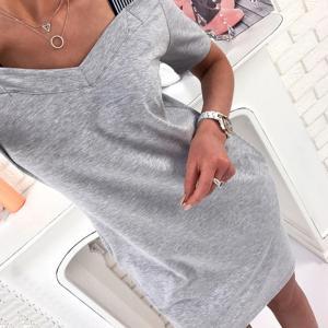 説明: ファッション女性のソリッドグレーカジュアルミニドレス快適なストライプストラップ、ショルダーシ...