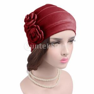 説明: 素材:コットン、スパンデックス女性のためのエレガントな花のビーニーキャップ、側面に付けられ、...