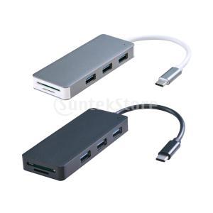 タイプCハブアダプターUSB Cと3倍のUSB 3.0 + 2xカードスロット(Micro SD /...