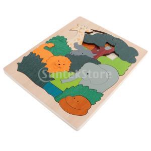 多層木製動物パズルジグソーパズル子供知育玩具