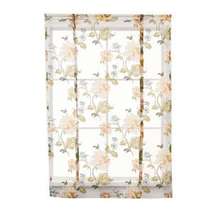 ローマンカーテン ショートカーテン  小窓用 レースカーテン カフェカーテン 牡丹柄